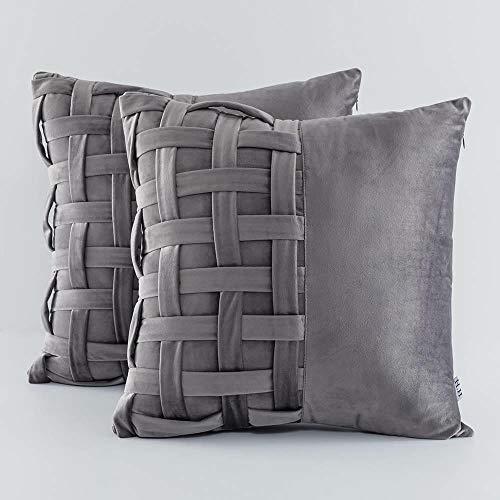 Soft Velvet Cushion Covers, Unique Decorative basket Weave Design for Home Sofa Bed 45x45cm 18x18 Inch set of 2 (Charcoal Grey, 45x45cm)