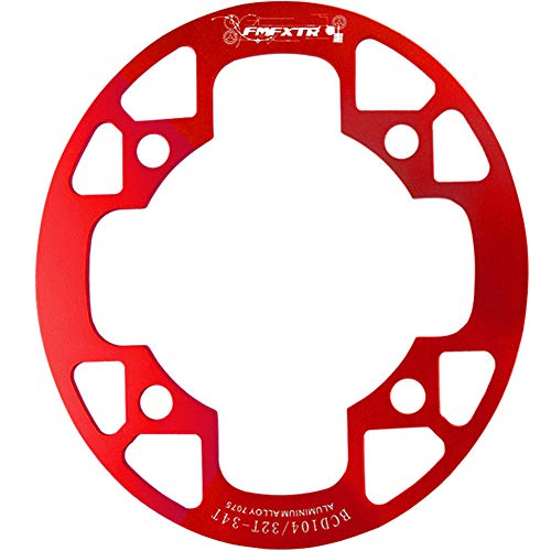 DSstyles MTB Bike Chainring Protection Cover 32T/34T 36T/38T/40T/42T Bicycle Sprocket Crankset Guard Chainwheel Protector 104bcd Oval Guard Plate 32-34T red