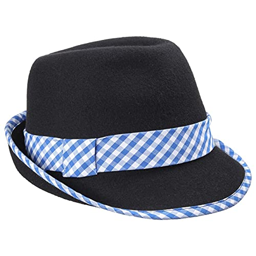 Chapeaushop Chapeau Tyrolien a Carreaux pour Homme Chapeau Alpin Chapeau Randonneur (59 cm - Bleu)