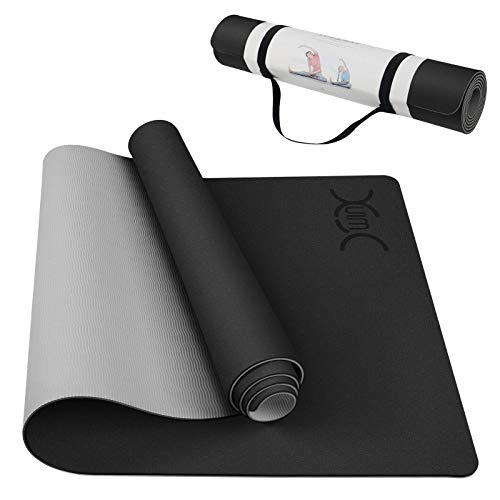 """Yoga Mat, YXwin Classic 1/4 Inch Thick, Non Slip Pro Yoga Mat, Eco Friendly Exercise & Fitness Mat with Carrying Strap - for All Types of Yoga, Pilates & Floor Workouts (72"""" x 26"""" x1/4"""")"""