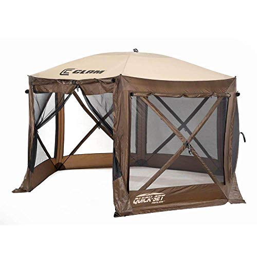 CLAM Quick-Set Pavilion 12.5 x 12.5 Foot Portable Pop-Up Outdoor Camping Gazebo Screen Tent 6 Sided Canopy Shelter w/Ground Stakes & Carry Bag, Brown