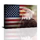 American Flag Canvas Prints USA Vintage Bald Eagle Wall Art, Retro Bald Eagle wall art US Poster Prints, Vintage American Military Flag Picture HD Print Artwork for Living Room Framed Ready to Hang