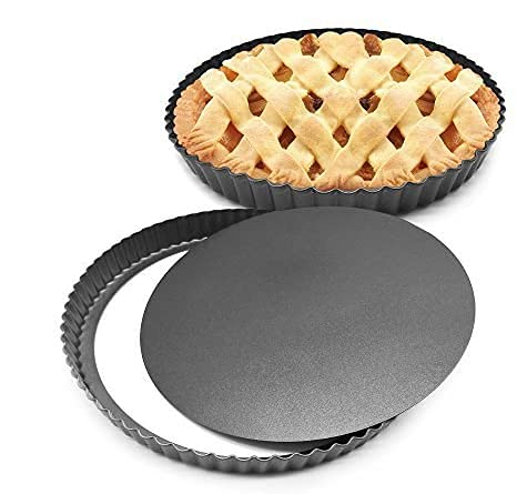 HOMOW 11 inch Heavy Duty Nonstick Pizza Pan, Quiche Pan With Removable Bottom, Removable Loose Bottom Quiche Pan, Tart Pie Pan 11'X1'(2PCS)