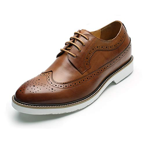 CHAMARIPA Men's Invisible Height Increasing Elevator Shoes-Genuine Leather Dress Brogue Shoes-2.56 Inches Taller 6.5 US DX60B06-1 Brown