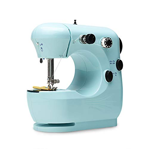 Mini Sewing Machine Portable Handheld Sewing Machine Household Beginner Tailors Free-Arm Crafting Mending Machine with Lamp and Thread Cutter High Low Speeds Hand-operation and Foot Pedal