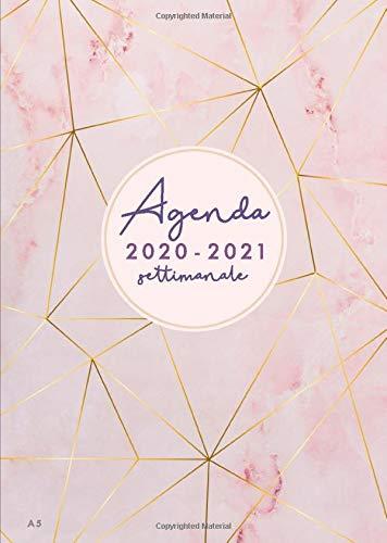 Agenda settimanale 2020 2021 A5: Agenda 2020/2021 giornaliera italiano | 18 mesi | luglio 2020 - dicembre 2021 | marmo rosa e strisce