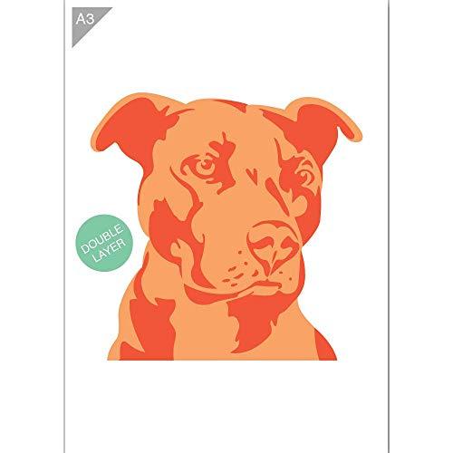 QBIX Dog Head Schablone, American Staffordshire Terrier Schablone - 2 Schichten Schablone - A3 Größe - wiederverwendbare Kinder freundlich DIY Schablone für Malerei, Backen, Handwerk, Wand, Möbel