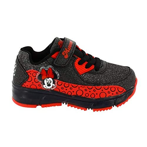 Sneakers da Ginnastica con Glitter e luci Minnie Nero (26 EU)