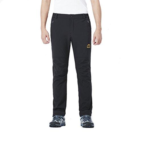 emansmoer Homme Pantalon Softshell Doublé Polaire Coupe-Vent Imperméable Outdoor Sport Pantalon de Randonnée Camping (Medium, Noir)