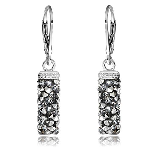 Chic Bijoux Drop & Dangle Earrings for Women - Made with 925 Sterling Silver and Swarovski Crystals for Sensitive Ears - Valentines Gift for Her, Hypoallergenic and Nickel Free, 35X5 mm