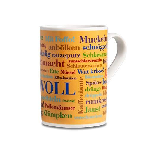 Tasse Sauerländer Wörter, WOLL, Mundart-Tasse mit Dialekt aus dem Sauerland als Souvenir oder Geschenkidee, mehrfarbig