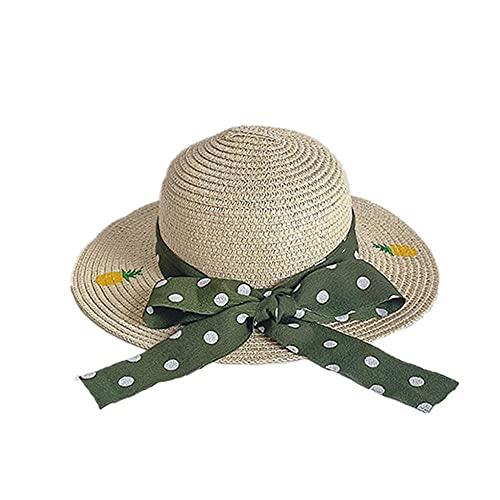 Gorra Niña Sombrero De Paja Gran Sombrilla De Verano Brim Y Sombrero Protector Solar Delgado Sombrero De Lana Estampado De Fruta Sombrero Adecuado para Bloquear El Sol Al Salir-Beige
