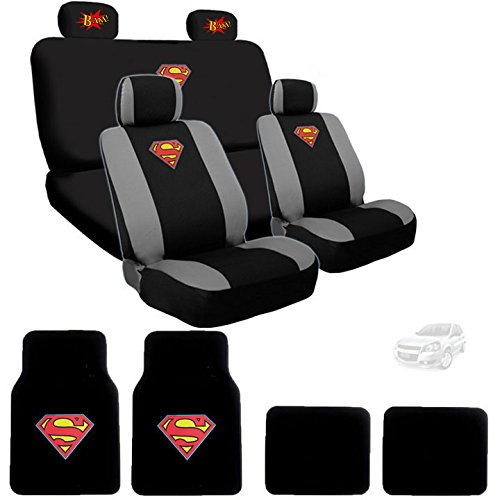 Yupbizauto Ultimate Superman Car Seat Covers Floor Mats Set Bundled with Classic BAM! Logo Headrest Covers