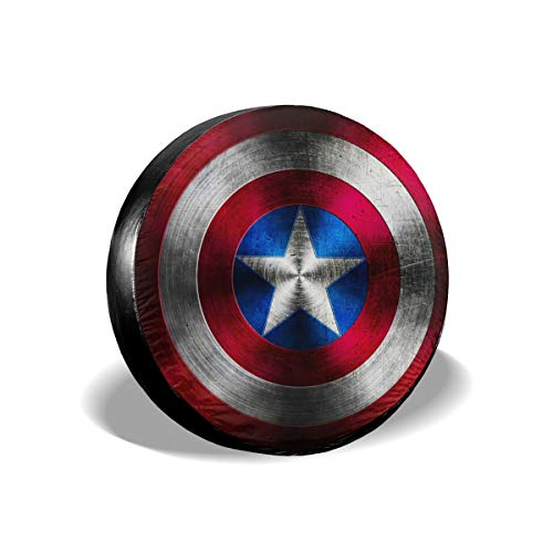 SDJGNSSDF Spare Tire Covers Captain America Shield Wheel Covers Rv Tire Covers Sun-Proof Weather-Proof for Jeep Trailer RV SUV Truck Camper Travel Trailer Accessories 14 15 16 17 Inch(17inch)