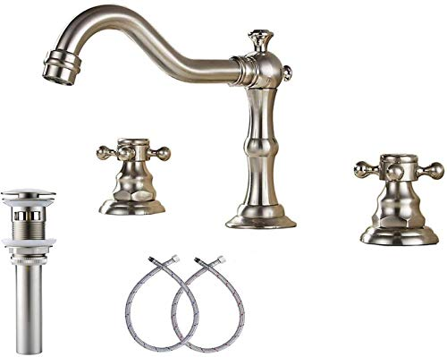 GGStudy Two Handles 3 Holes 8-16 inch Widespread Bathroom Sink Faucet Brushed Nickel Basin Tap Mixer Faucet