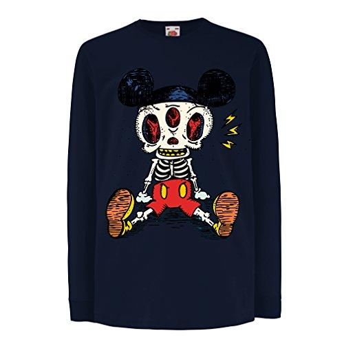 Camisetas de Manga Larga para Niño Esqueleto de un ratón (3-4 Years Azul Multicolor)