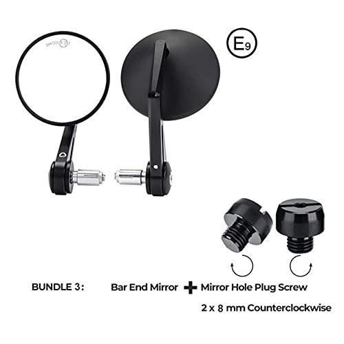 Feil Store Specchi retrovisore per Moto E-Mark Fit Fit for 7/8'Migliore Manubrio Adatta per MT07 MT09 R1 R3 S1000 FZ8 R1200GS GSXR 650 Z750 (Color : Bundle3)