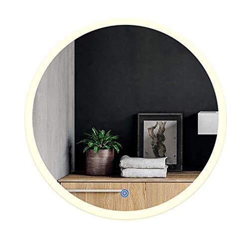 PXY Espejo de Tocador de Pared Claro Y Práctico Espejo de Baño Led Iluminado, Espejo de Baño Redondo de Estilo Europeo, Espejo de Maquillaje, Espejo de Tocador, Espejo de Afeitar, Decoración de Baño