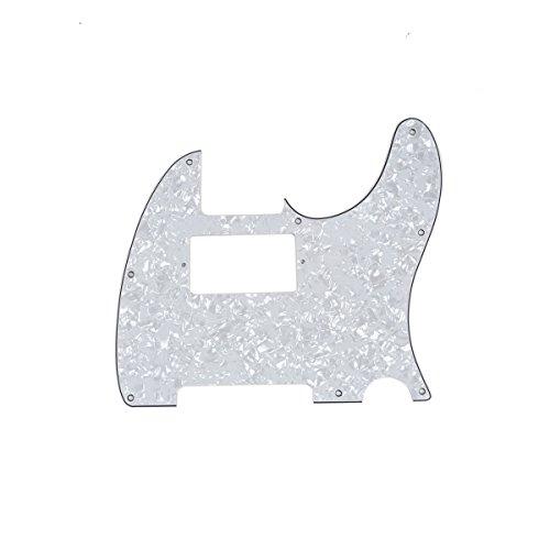 Musiclily 8 Agujeros Tele Pickguard Golpeador Humbucker HH para Fender American/México Standard Telecaster Estilo Moderno,4 capas White Pearl