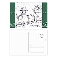 クリスマス雪だるまスノーフレークツリーのスケッチ グッドラック・ポストカードセットのカードを郵送側20個