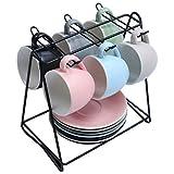 SHACOS Set de Tazas de café con Platos,Servicio de Café Expreso,Porcelana,6 Colores (12 Unidades)