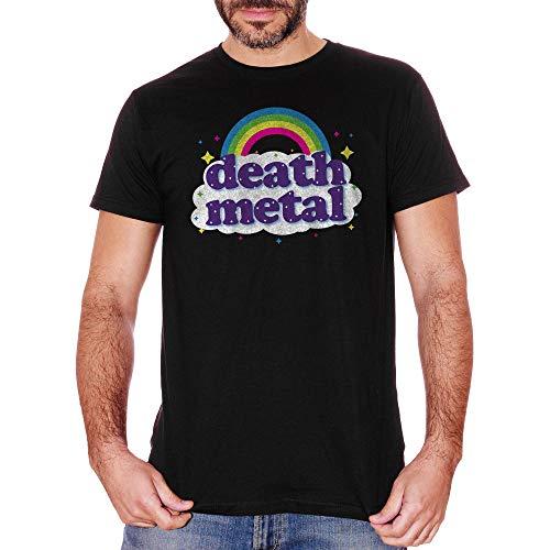 T-Shirt Death Metal Rainbow - Music Choose ur Color - Bambino-XS-Nera