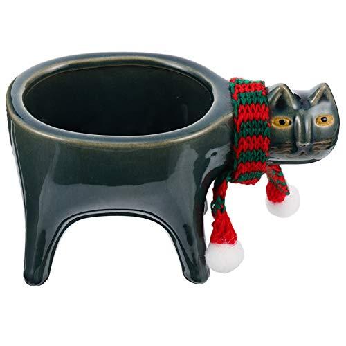 Cabilock Cute Animals Cartoon Farmhouse Ceramic Succulent Plant Pot Cat Cactus Plant Pot Flower Pot Bonsai Pots Green