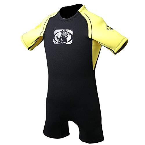 Body Glove Child's Back Zip Pro 3 Spring Suit, Yellow/Black, C4 2.2mm - Kids Suit Girls Swim Wear Shorty Sleeve Neoprene Open Water Thermal Short Pants Legs One Piece Childrens Bodysuit (14158C-C4-YEL/BLK)