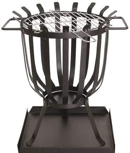 LIVIVO Steel Fire Pit Brazier with BBQ Grill Insert and Ash Catching Base Plate, Full 360 Degree Panoramic Views and Heat Output Weather and Rust-Resistant
