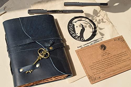 OVERDOSE Diario de cuero vintage con papel quemado Deckle Edge hecho a mano, cuaderno de bocetos de sombras, tamaño azul 12 x 17 cm