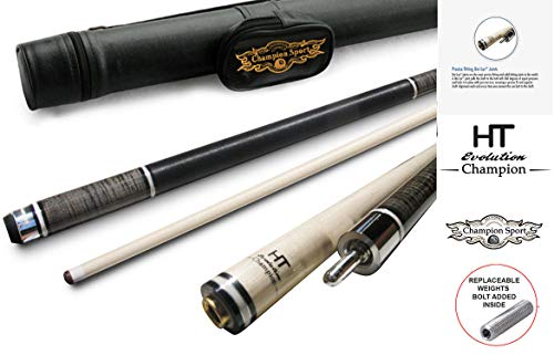 Gator Champion Inlaid Custom Billiard NA1 Pool Cue Stick, Hybrid Shaft, Uni-loc Joint, Black Case, 13 mm, 20 oz