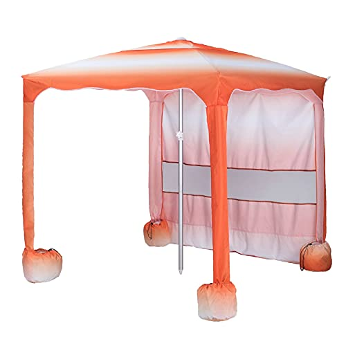 AMMSUN Beach Cabana,5.5' × 5.5' Beach Canopy,Easy Set up and Take Down Large Shade Area Outdoor Sun Umbrella with Sand Pockets, Instant Sun Shelter with Privacy Sunwall(Orange