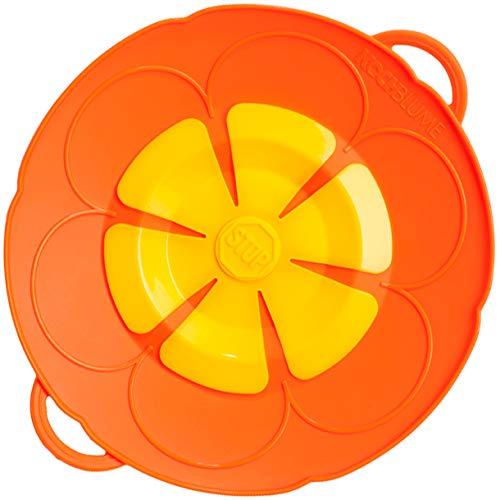 Kochblume Couvercle anti-débordement, Silicone, Orange., Topfgröße 14-18cm (S)