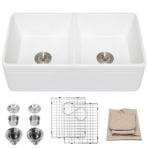 For Sale! Lordear 33 Inch Fireclay Farmhouse Kitchen Sink Apron-Front White Double Bowl Kitchen Sink