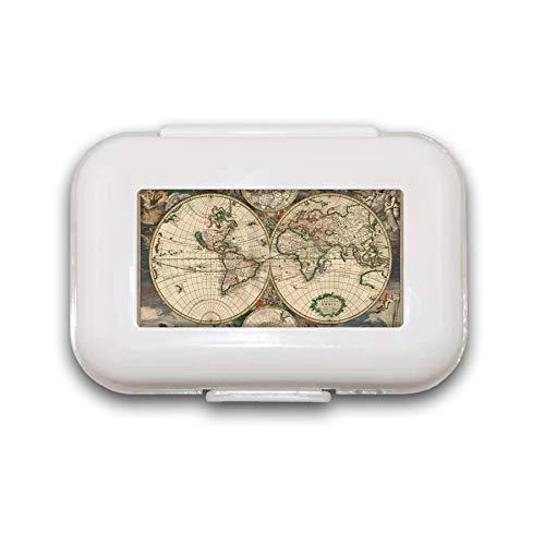 Sunok Pillendose mit Weltkarte, antike Pillendose, Pillendose für Tasche oder Geldbörse, mit 8 Fächern