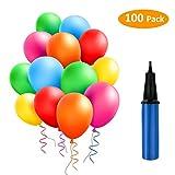 TedGem 100 Piezas Multicolores Globos con bomba de Decoracion de Fiesta pare 100 Globos de Fiesta de Colores...