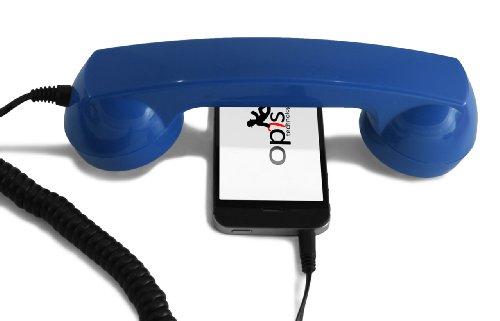 Opis 60s Micro - Retro Handyhörer für Smartphones und Handys in der Form eines klassischen Telefonhörers (blau)