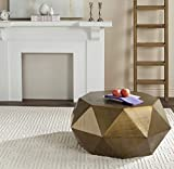 Safavieh Home Collection Astrid Geometric Brushed Brass Faceted Coffee Table