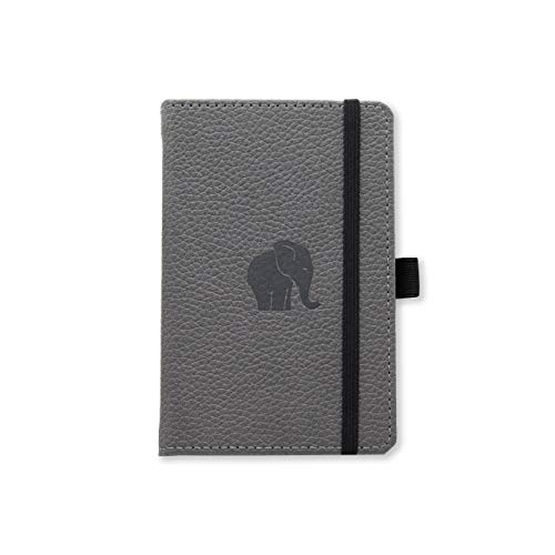 Dingbats Wildlife Dotted Pocket A6 Hardcover Notebook  PU Leather Perforated 100gsm InkProof Paper Pocket Elastic Closure Pen Holder Bookmark Gray Elephant