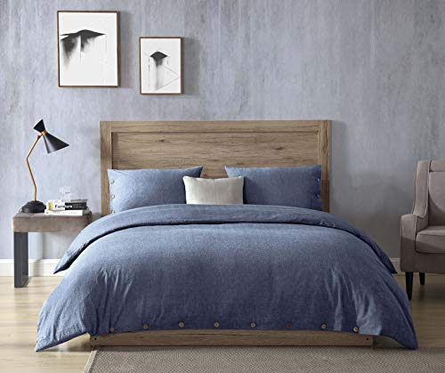EXQ Home 100% Washed Cotton Denim Blue Full Queen Duvet Cover Set Size 3 Pcs, Super Soft Bedding Vintage Comforter Cover with Button Closure (Breathable)