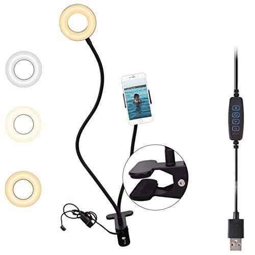 4'' Ring Light Selfie Desktop Clip Lamp with Phone Holder, Mini LED Camera Natural Circle White Light for Online Meeting/Live Stream/Makeup/YouTube Video/TikTok/Photo, USB Connect