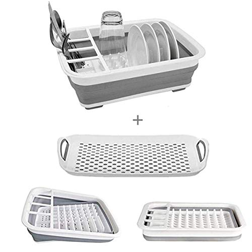 Collapsible Dish Drying - Rack with Drainer Board Set Portable Dish Drainers for Small Kitchen Camper RV Caravan Travel Trailer (Grey)