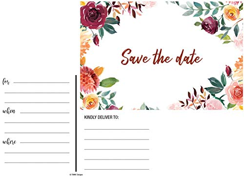 50 Rustic Watercolor Floral Rose Save The Date Cards for Weddings. Before Invitations for Wedding, Anniversary, Bridal Shower, Birthday or Engagement Party use Postcards Announcements Event Invites