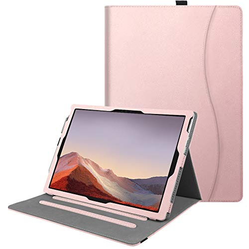 Fintie Case for Microsoft Surface Pro 7+ / Surface Pro 7 / Surface Pro 6 / Surface Pro 5 4 3, Multiple Angle Viewing Folio Stand Cover with Card Pocket, Compatible with Type Cover Keyboard (Rose Gold)