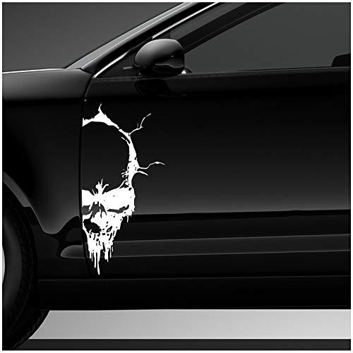 Finest Folia Skull Totenkopf Aufkleber Sticker Dekor Folie Autoaufkleber Tattoo für Auto LKW Wohnwagen K079 (Weiß, 28x13 cm)