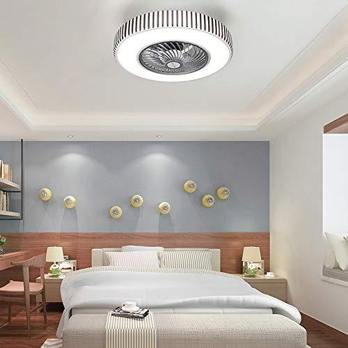 QJUZO Moderna Ventilador de Techo Lámpara de Techo, con Luz y Mando a Distancia Ventilador Silencioso Lámpara de Techo LED Regulable Ventilador Invisible Cuarto de Estar Dormitorio Plafón Fan