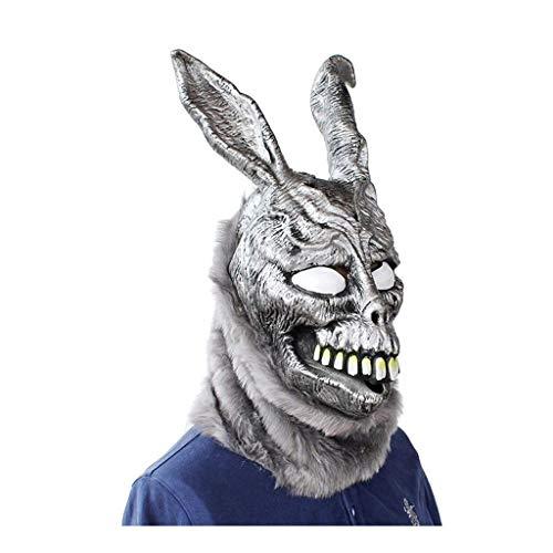 BTPDIAN Halloween mask, Halloween bunny mask, evil silver rabbit animal headgear, Halloween latex mask, movie props,Donnie Darko FRANK Rabbit Mask Halloween the Bunny Latex Hood with Fur Mask Hallowee