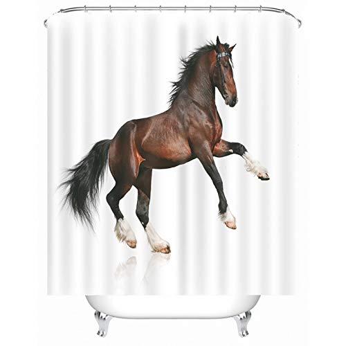 Rubyia Duschvorhang Überbreite, Laufendes Pferd 3D Motiv Bath Shower Curtain mit Duschvorhangringen, Polyester, Weiß, 180 x 200 cm