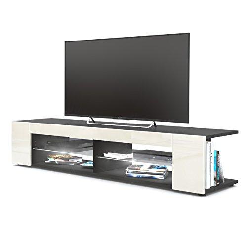 Vladon TV Board Lowboard Movie, Korpus in Schwarz matt/Fronten in Creme Hochglanz inkl. LED Beleuchtung in Weiß