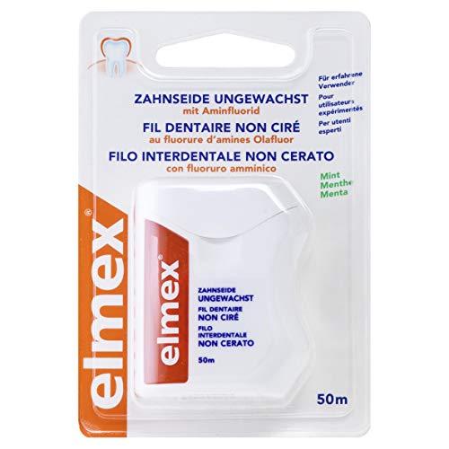elmex Zahnseide ungewachst 50m Länge, 1 Stück, mit Aminfluorid, frisches Mint-Aroma